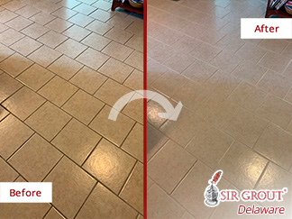 Before and After Picture of a Grout Cleaning Service in Rehoboth Beach, DE.