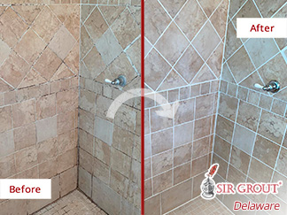 A Picture of a Shower Before and After a Tile Sealing in Dewey Beach, DE