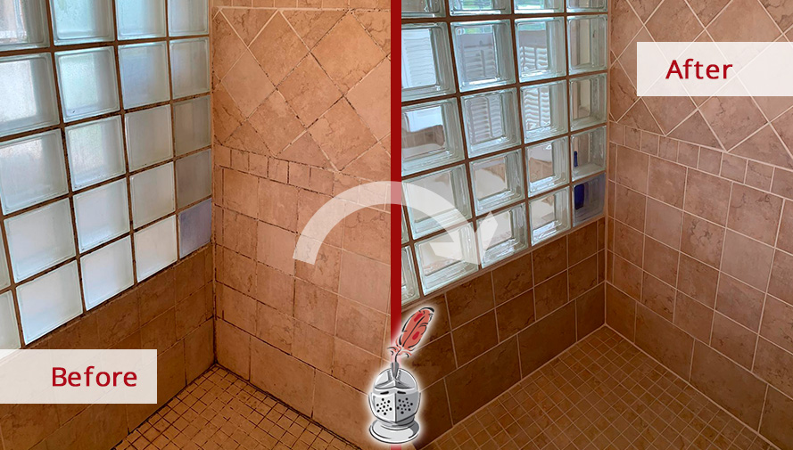 Before and After Picture of a Shower After a Tile Sealing in Dewey Beach, DE