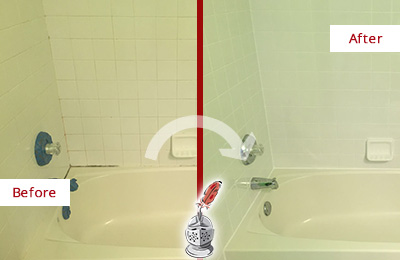 Before and After Picture of Tub Caulking on Moldy Bathtub Joints