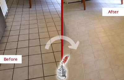 Before and After Picture of a Milford Kitchen Tile and Grout Cleaned to Remove Embedded Dirt