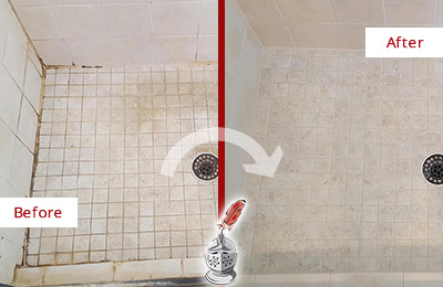 Before and After Picture of a Dover Shower Caulked to Fix Cracks