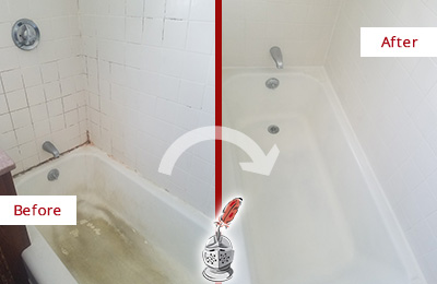 Before and After Picture of a Dover Bathtub Caulked to Repair Cracks
