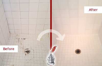 Before and After Picture of a Delaware City Bathroom Re-Caulked To Repair Damaged Caulking