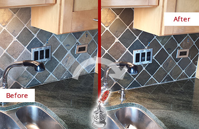 Before and After Picture of a Dover Backsplash Caulked to Fix and Prevent Water Leaks
