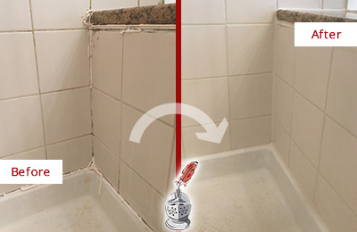 Before and After Picture of a Dover Shower Caulked to Repair Damaged Caulking