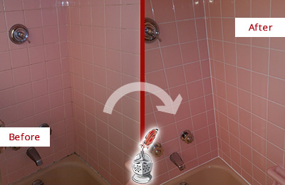 Before and After Picture of a Dover Bathtub Caulked to Eliminate Mold