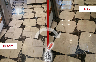 Before and After Picture of a Dull Georgetown Marble Stone Floor Polished To Recover Its Luster