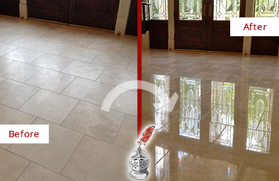 Before and After Picture of a Dull Dewey Beach Travertine Stone Floor Polished to Recover Its Gloss