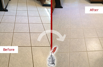 Before and After Picture of a Newark Kitchen Ceramic Floor Sealed to Protect From Dirt and Spills