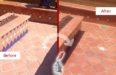 Before and After Picture of a Dull Newark Terracotta Patio Floor Sealed For UV Protection