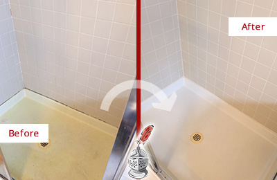 Before and After Picture of a Newark Shower Sealed to Remove and Protect Against Mold