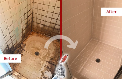 Before and After Picture of a Newark Shower Sealed to Fix and Prevent Water Damage