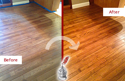 Before and After Picture of a Middletown Wood Deep Cleaning Service on a Dull Floor to Recover Its Sheen