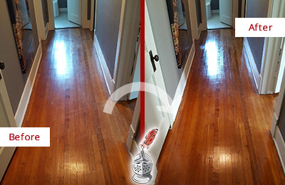 Before and After Picture of a Middletown Wood Deep Cleaning Service on a Floor to Eliminate Scratches