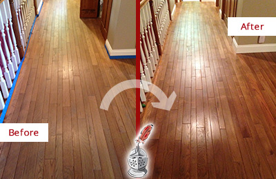 Before and After Picture of a Middletown Wood Deep Cleaning Service on a Worn Out Floor