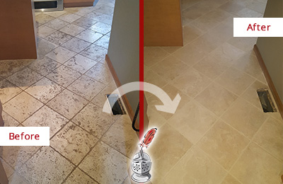 Before and After Picture of a Bethany Beach Kitchen Marble Floor Cleaned to Remove Embedded Dirt