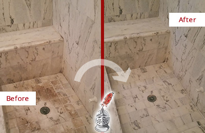 Before and After Picture of a Dirty Bethany Beach Marble Shower Cleaned to Eliminate Dark Stains