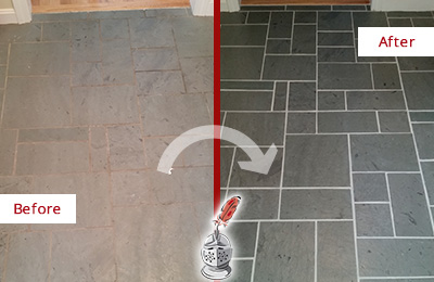 Before and After Picture of a Bethany Beach Slate Floor Cleaned to Remove Deep-Seated Dirt