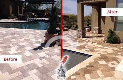 Before and After Picture of a Dull Seaford Travertine Pool Deck Cleaned to Recover Its Original Colors