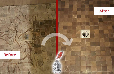 Before and After Picture of a Stained Bethany Beach Marble Shower Floor Cleaned to Remove Etching