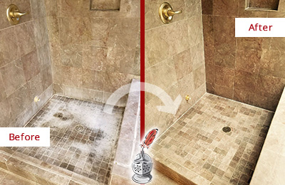Before and After Picture of a Bethany Beach Travertine Shower Cleaned to Eliminate Water Spots