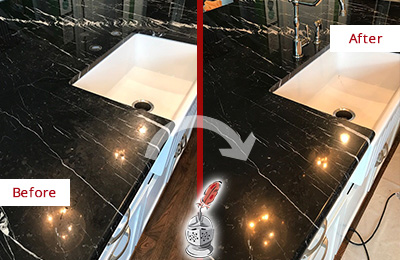 Before and After Picture of a Magnolia Marble Kitchen Countertop Stone Sealed to Avoid Water Damage