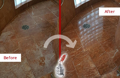 Before and After Picture of Damaged Magnolia Marble Floor with Sealed Stone