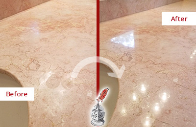Before and After Picture of a Magnolia Marble Stone Vanity Top Sealed to Avoid Water Marks