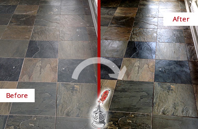 Before and After Picture of a Magnolia Slate Stone Floor Sealed to Eliminate Dullness