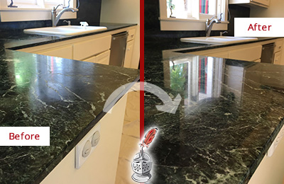 Before and After Picture of a Wilmington Marble Kitchen Countertop Honed to Remove Water Marks