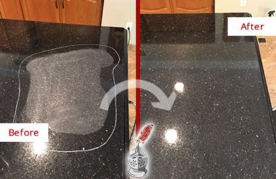 Before and After Picture of a Lewes Hard Surface Restoration Service on a Granite Countertop to Remove Scratches