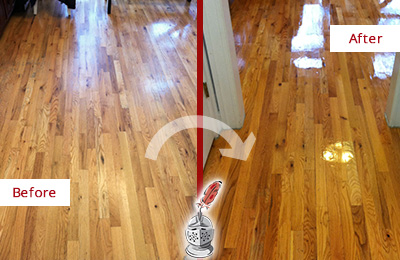 Before and After Picture of a Dagsboro Hard Surface Restoration Service on a Worn Out Wood Floor