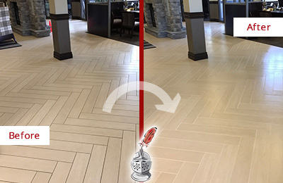 Before and After Picture of a Ardencroft Lobby Floor Cleaned to Even the Grout Color