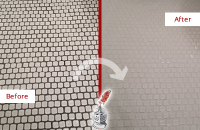 Before and After Picture of a Ardencroft Mosaic Tile floor Grout Cleaned to Remove Dirt