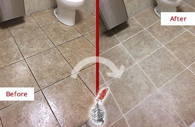 Before and After Picture of a Delaware City Office Restroom Floor Recolored Grout