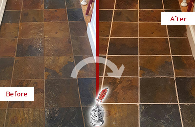 Before and After Picture of a Wilmington Slate Floor Recolored Grout