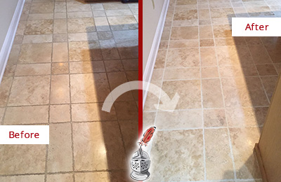 Before and After Picture of a Wilmington Travertine Kitchen Floor Recolored Grout