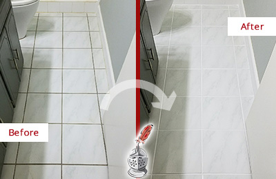 Before and After Picture of a Wilmington White Ceramic Tile with Recolored Grout