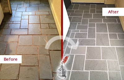 Before and After Picture of Damaged Dover Slate Floor with Sealed Grout