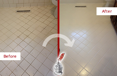 Before and After Picture of a Dover White Bathroom Floor Grout Sealed for Extra Protection
