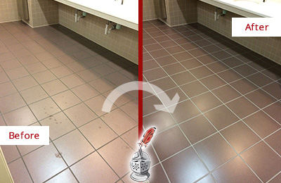 Before and After Picture of Dirty Dover Office Restroom with Sealed Grout