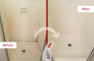 Before and After Picture of a Dover Bathroom Grout Sealed to Remove Mold