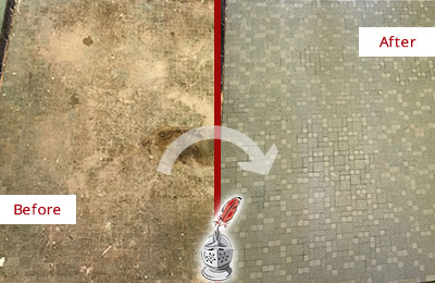 Before and After Picture of a Arden Mosaic Shower Cleaned to Eliminate Embedded Dirt