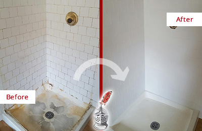 Before and After Picture of a Arden Shower Cleaned to Eliminate Mold