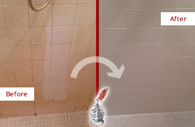 Before and After Picture of a Arden Porcelaine Shower Cleaned to Remove Soap Scum